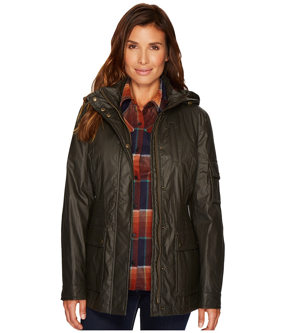 Pendleton Waxed Cotton Hooded Zip Front Jacket (Olive) Wo...
