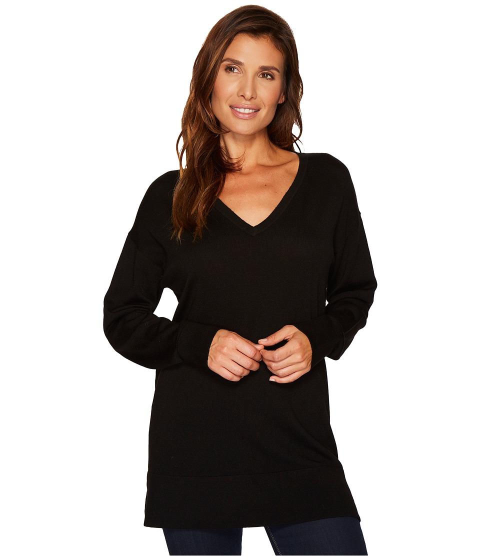 Pendleton Merino V-Neck Pullover (Black) Women