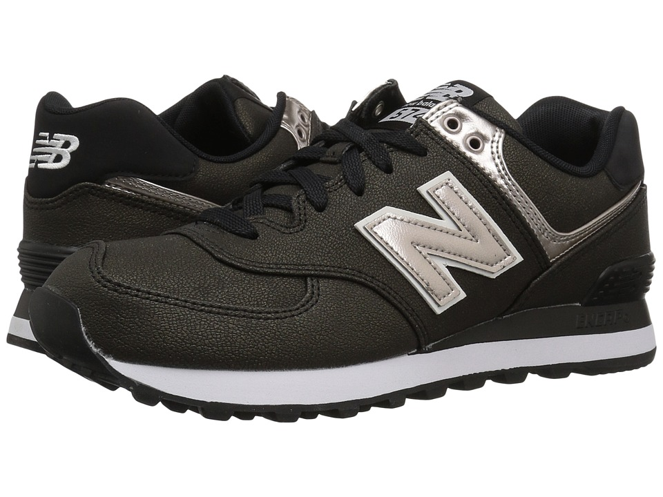 New Balance Classics - WL574v1 (Black/Champagne Metallic) Womens Running Shoes