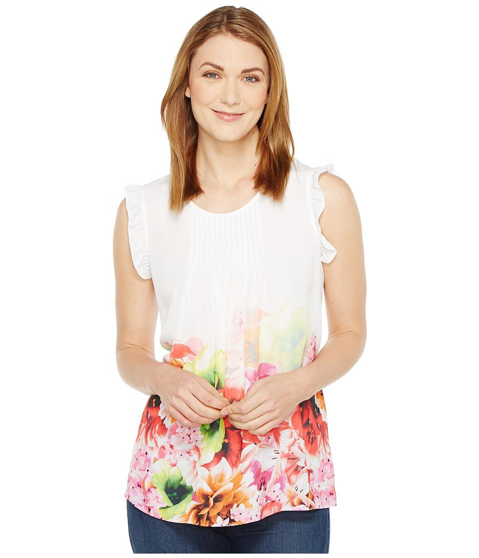 CeCe - Floral Tropics Ruffle Sleeve Pintuck Blouse