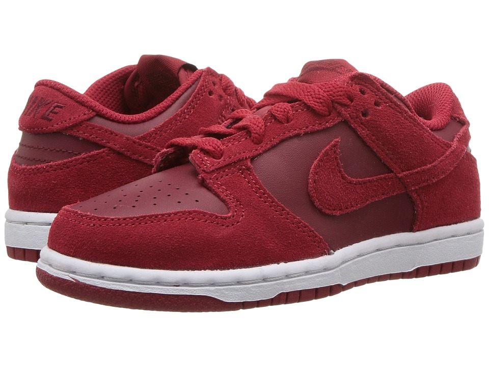 Nike Kids Dunk Low (Toddler/Youth) (Gym Red/Gym Red/Team White) Girls Shoes