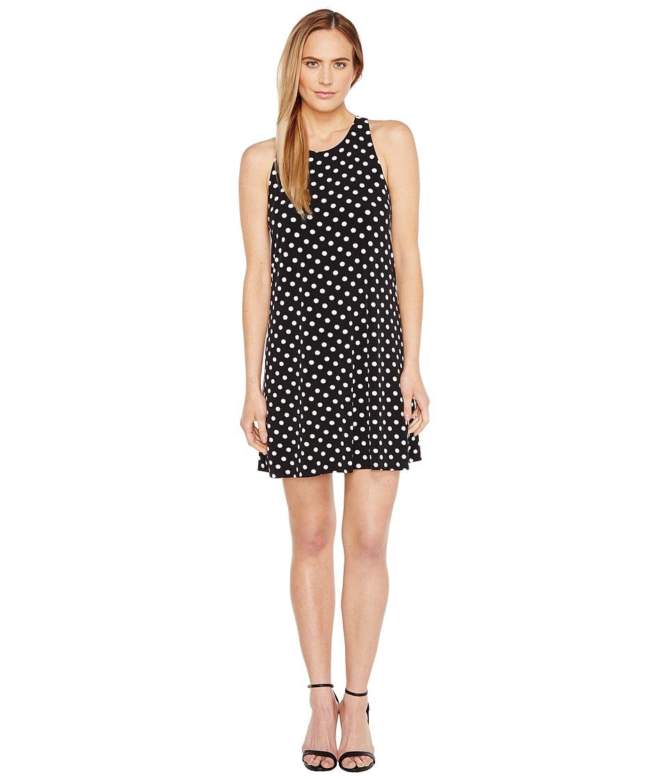 CeCe Twist Back Equator Dot Halter Dress (Rich Black) Women