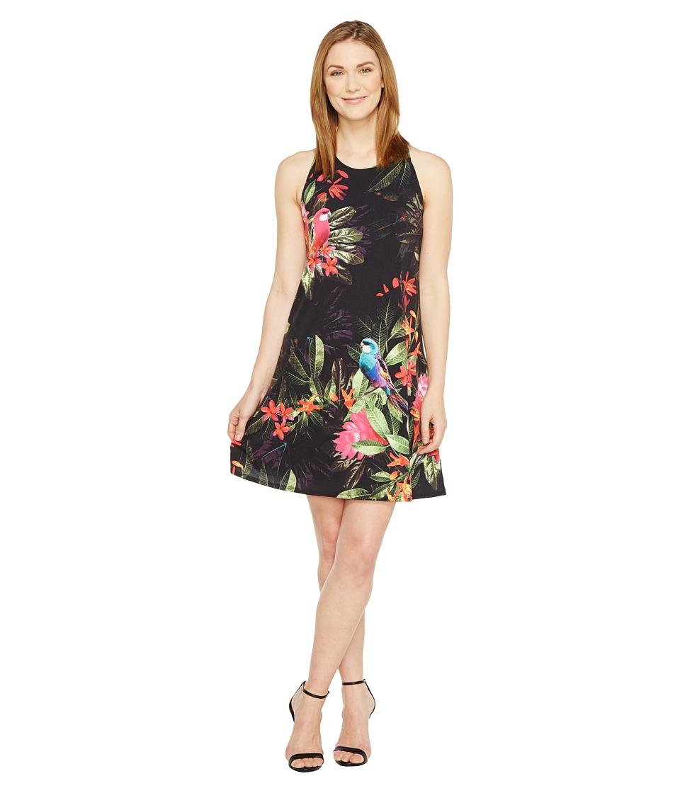 CeCe Twist Back Jungle Parakeet Halter Dress (Rich Black) Women