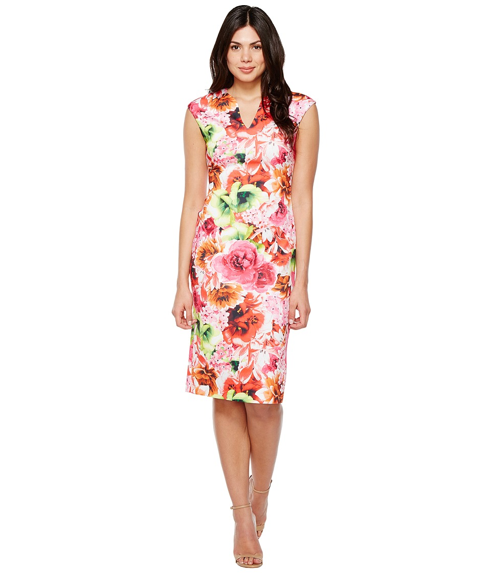 CeCe - Floral Tropic Slitneck Scuba Sheath Dress