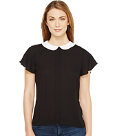 CeCe - Short Sleeve Contrast Peter Pan Collar Blouse