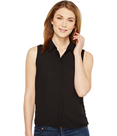 CeCe - Sleeveless Lightweight Crepe Collared Blouse