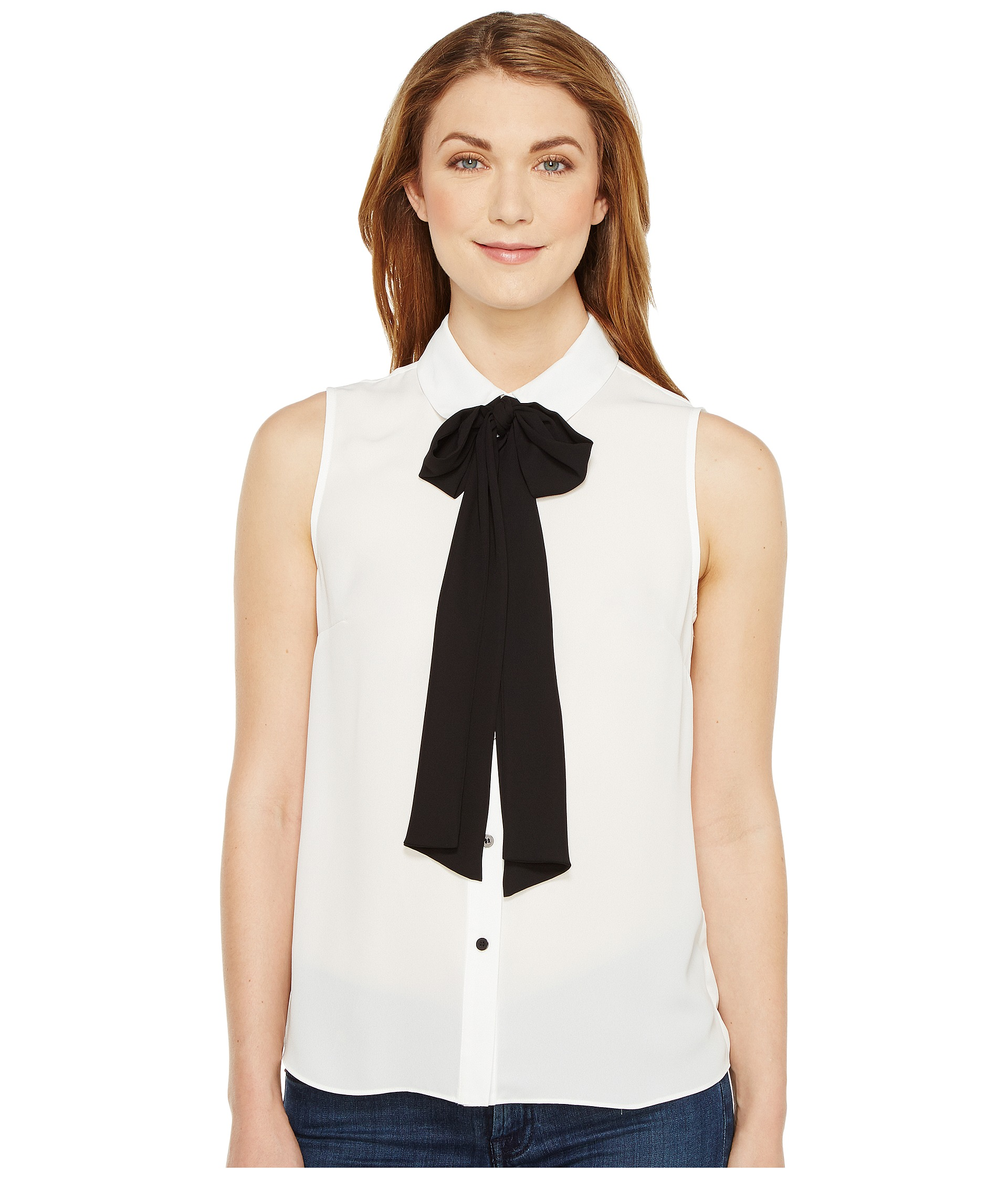 Cece sleeveless collared blouse w bowtie at for Sleeveless white shirt with collar