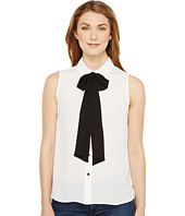 CeCe - Sleeveless Collared Blouse w/ Bowtie