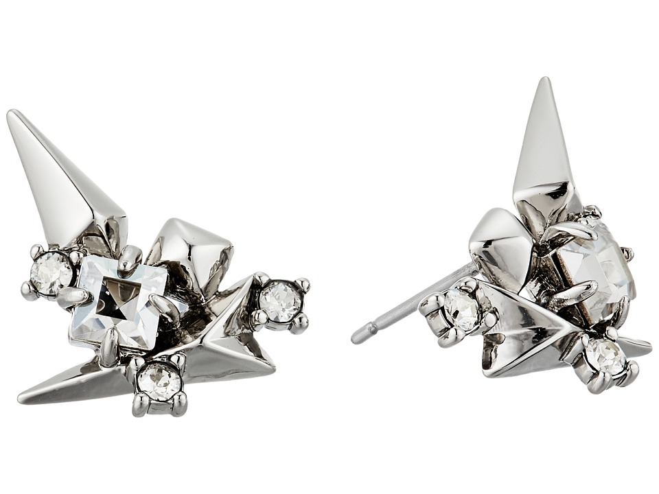 Alexis Bittar - Golden Studded Post Earrings (Rhodium) Earring