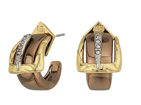 Alexis Bittar Small Buckle Hoop Earrings - 10K Gold w/ Rhodium/Copper