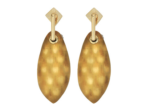 Alexis Bittar Lucite Post w/ Back Pave Ball Detail Earrings - Gold Snake Print