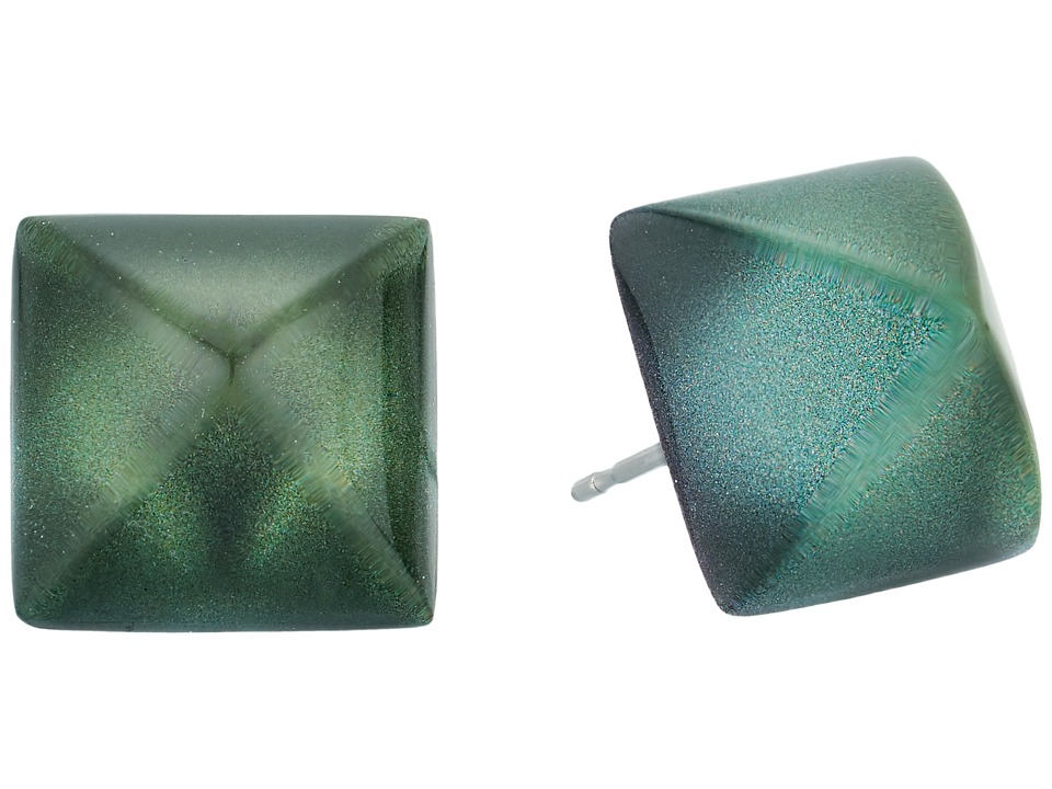 Alexis Bittar - Pyramid Post Earrings (Deep Jade) Earring