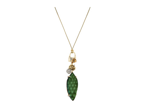 Alexis Bittar Long Rocky Pendant Necklace - Green Snake Print