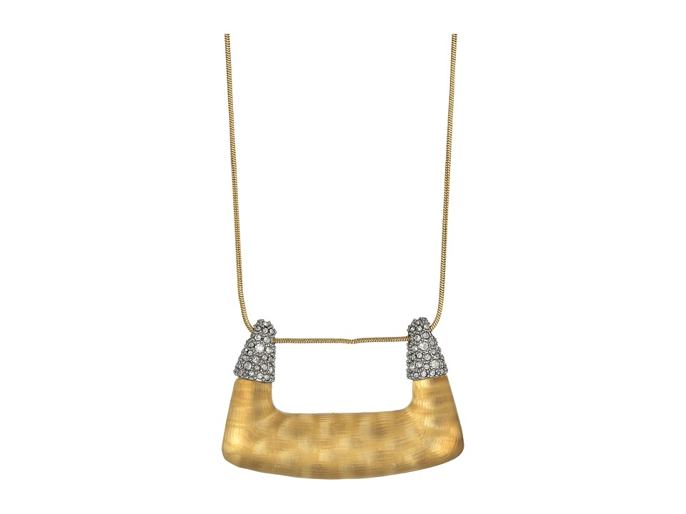 Alexis Bittar - Crystal Encrusted Abstract Buckle Shape Pendant Necklace (Gold Snake Print) Necklace