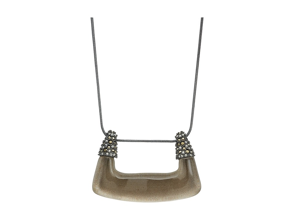 Alexis Bittar - Crystal Encrusted Abstract Buckle Shape Pendant Necklace