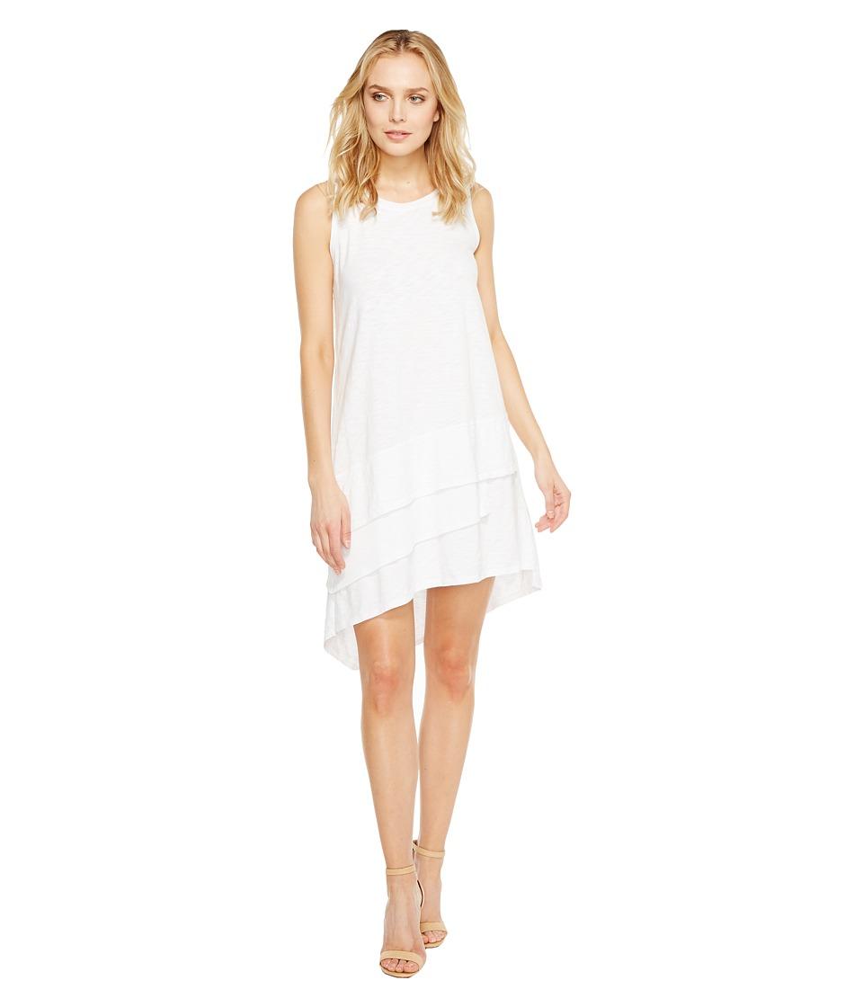 Dylan by True Grit Luxe Cotton Slub 3 Tier Tank Dress (White Tee) Women