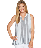 Dylan by True Grit - Taylor Texture Centered Stripe Sleeveless High-Low Tunic