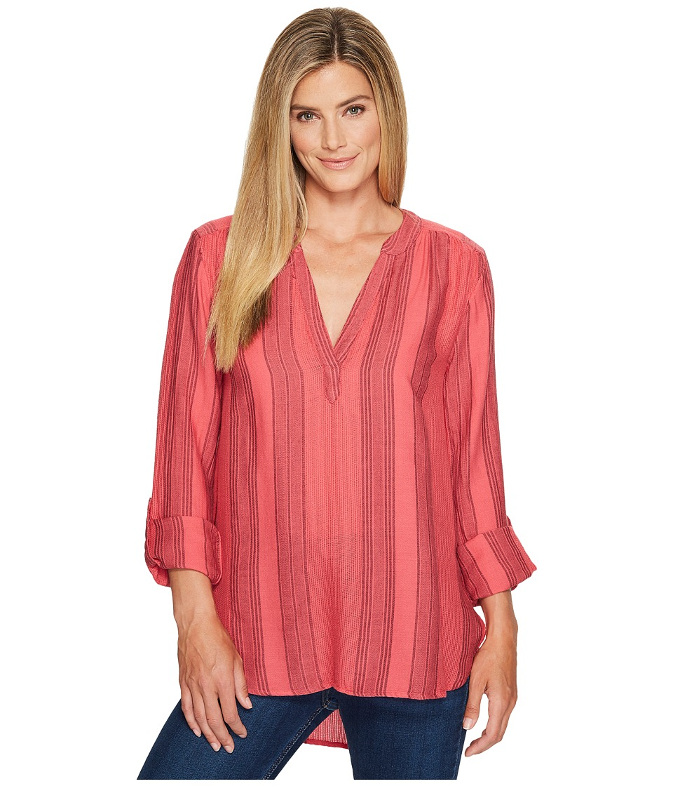 Dylan by True Grit - Taylor Texture Wide Waffle Stripe High-Low Tunic w/ Roll Sleeve