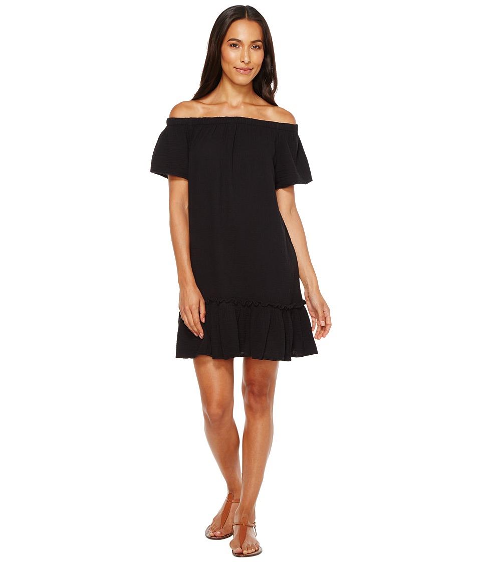 Dylan by True Grit Summer Gauze Cotton Off Shoulder Dress (Black) Women