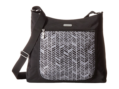Baggallini Pocket Hobo - Black/Grey Chevron