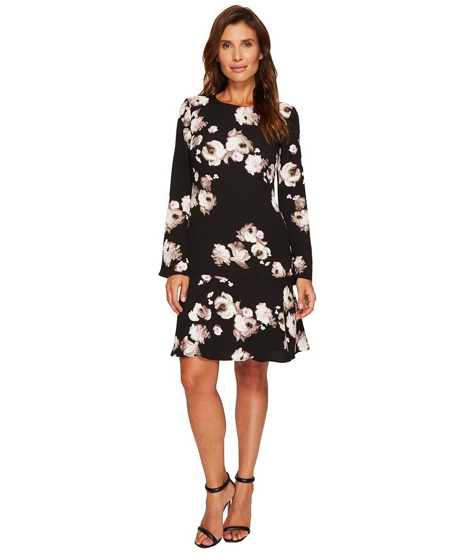 Ellen Tracy Cloque Long Sleeve Flounce Dress (Brushstroke Multi) Women