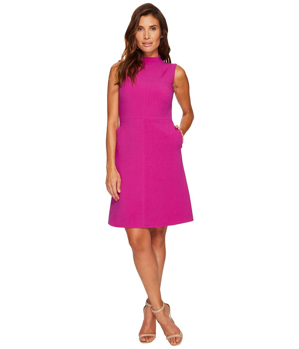 Ellen Tracy Seamed Mock Neck Dress (Viola) Women