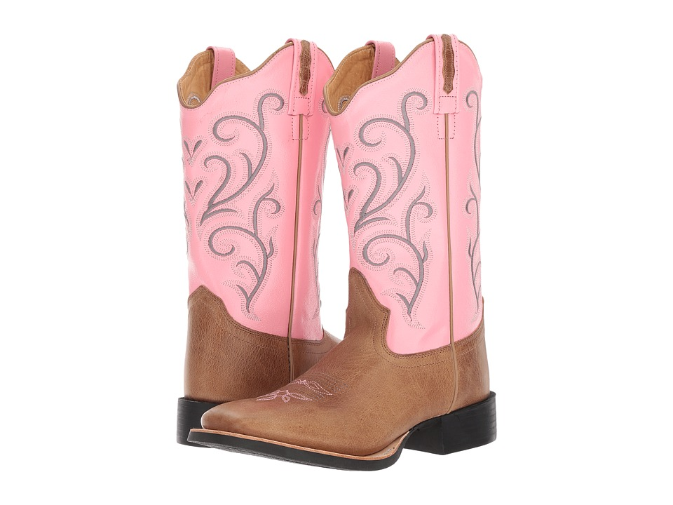 Old West Boots 18119 (Tan Fry/Pink) Cowboy Boots