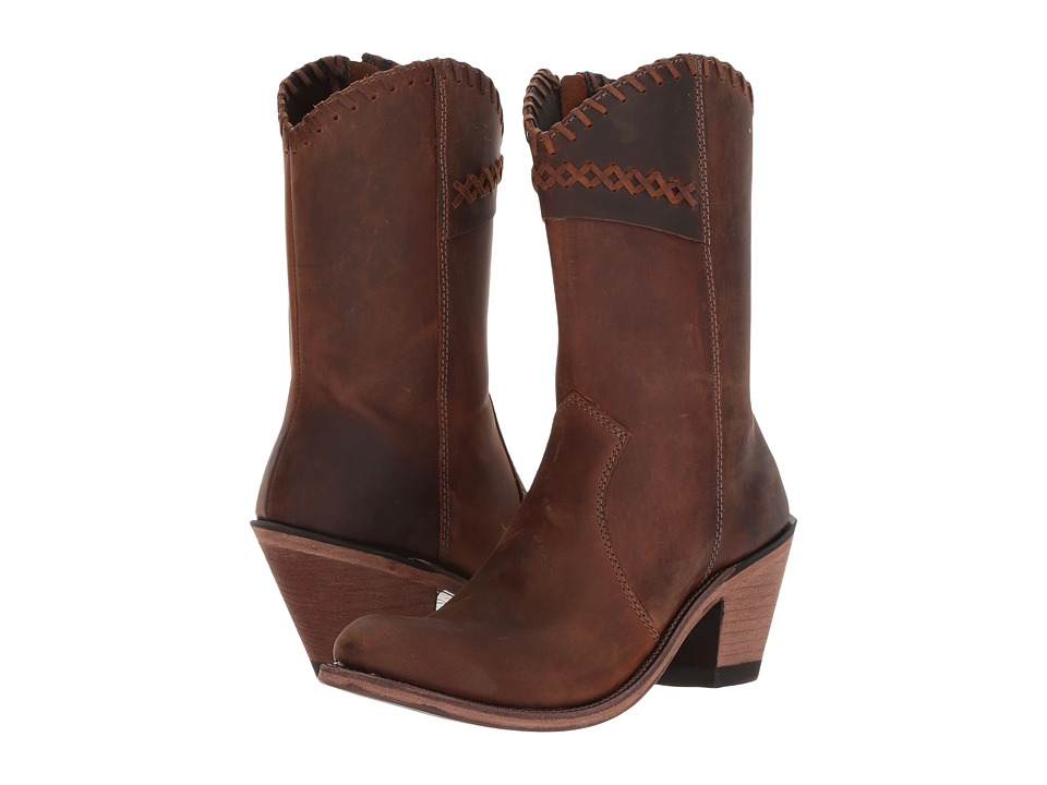 Old West Boots Crisscross Stitch Boot (Brown) Cowboy Boots