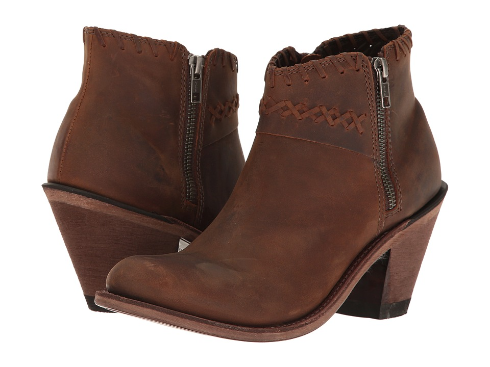 Old West Boots Crisscross Stitch Ankle Boot (Brown) Cowboy Boots