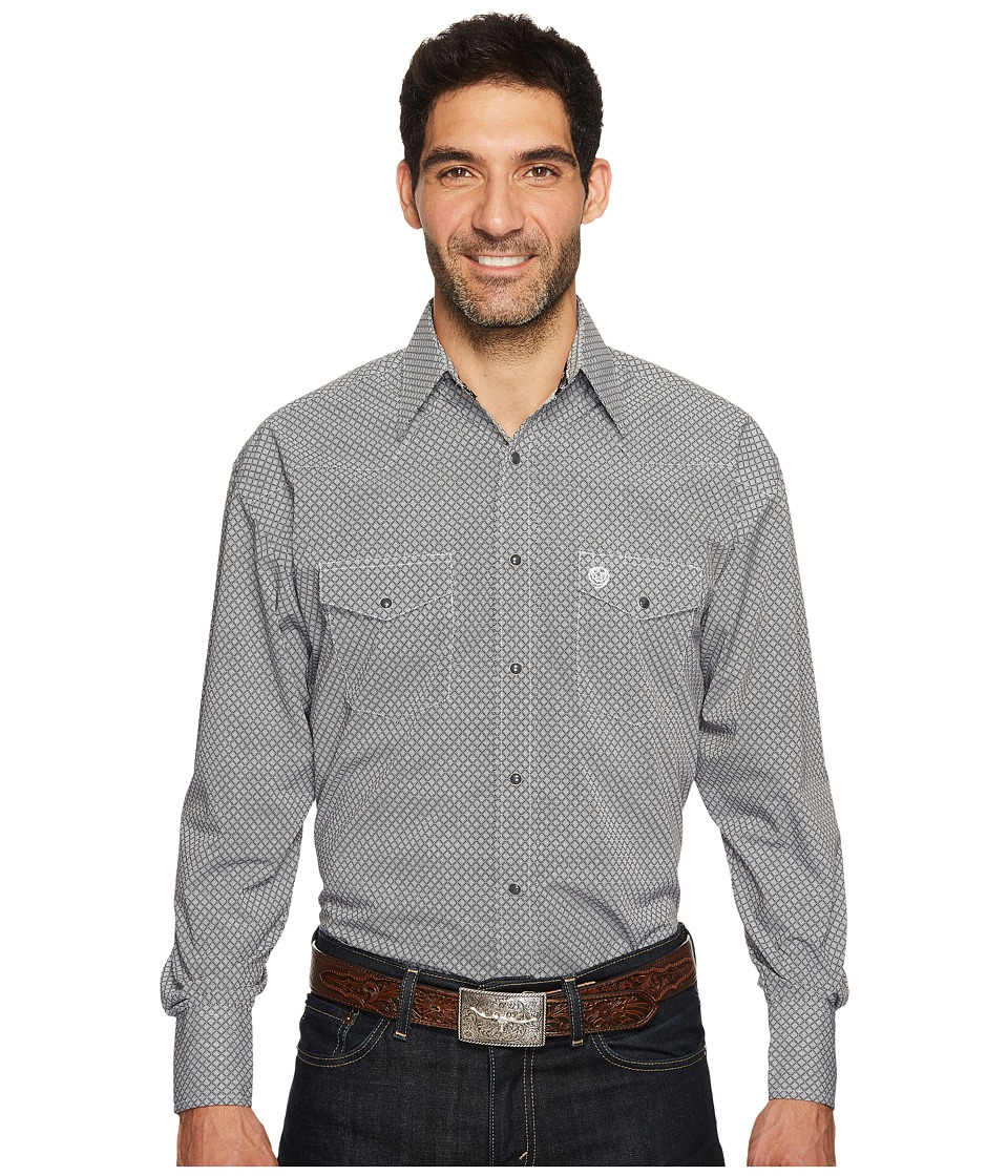 Wrangler - Long Sleeve George Strait Snap Print (Black/White) Men's Clothing
