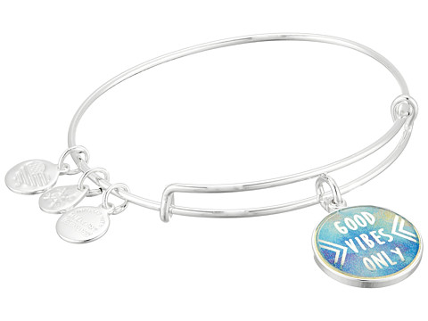 Alex and Ani Words are Powerful - Seaside Good Vibes Only Bangle Bracelet - Shiny Silver
