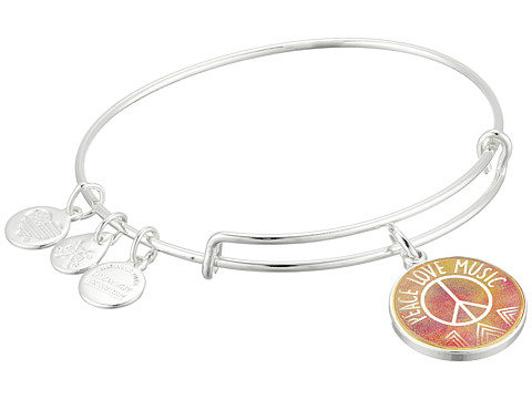 Alex and Ani Words are Powerful - Seaside Peace Love Music Bangle Bracelet - Shiny Silver