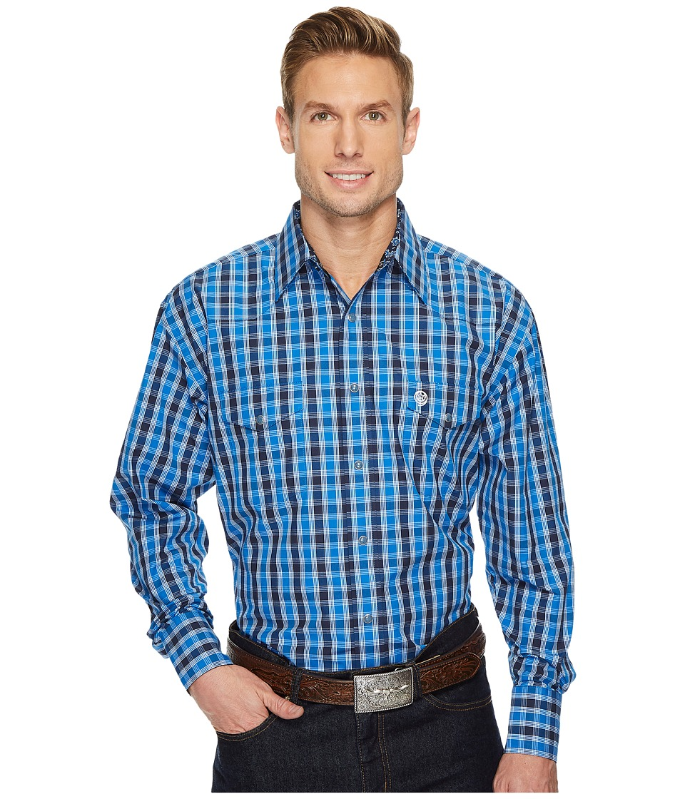 Wrangler - Long Sleeve George Strait Snap Plaid (Blue/Navy) Men's Clothing