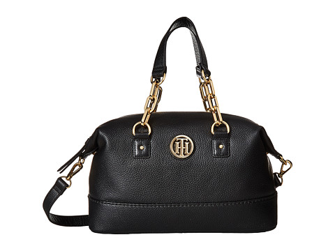 Tommy Hilfiger Almira Pebble Leather Small Convertible Satchel - Black