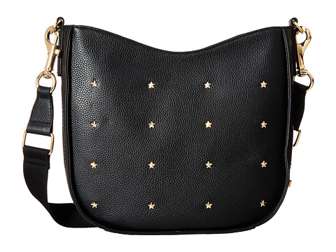 Tommy Hilfiger City Leather Star Studded Pebble Leather Convertible Hobo - Black