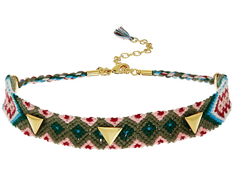 Rebecca Minkoff Triangle Stud Friendship Choker - Gold/Green