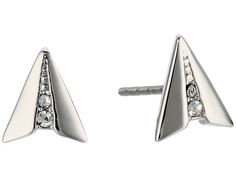 Rebecca Minkoff Paper Plane Stud Earrings - Silver/Crsytal
