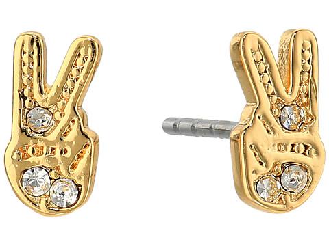 Rebecca Minkoff Peace Sign Stud Earrings - Gold/Crystal