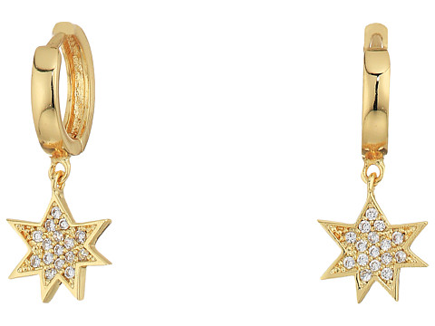 Rebecca Minkoff Huggie Hoop Earrings with Pow Charm - Gold/Crystal