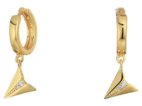 Rebecca Minkoff Huggie Hoop Earrings with Paper Plane Charm - Gold/Crystal