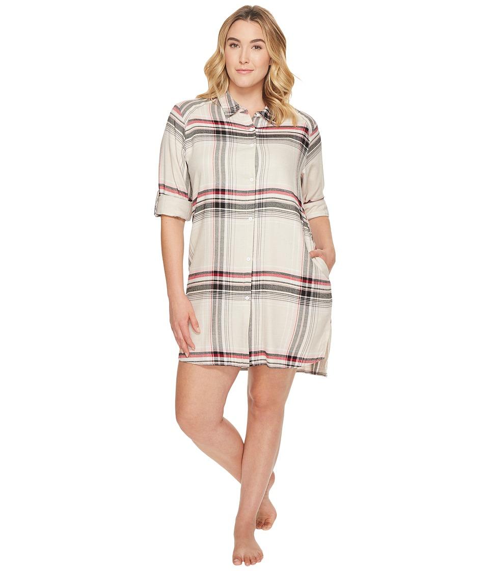 DKNY - Plus Size Flannel Long Sleeve Sleepshirt
