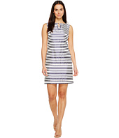 Ellen Tracy - Striped Twill Dress with Neckline Embellishment