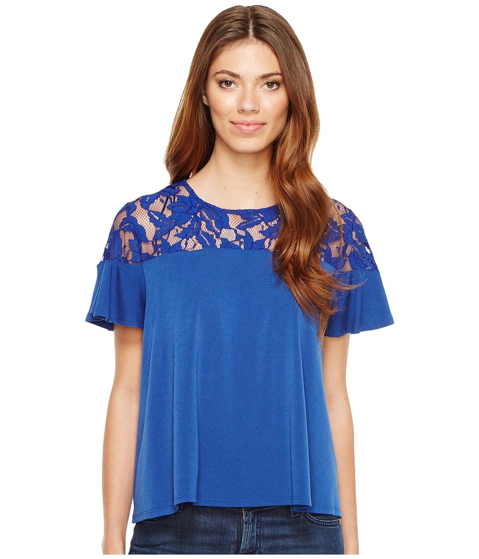 CeCe - 3/4 Bell Sleeve Floral Lace Yoke Knit Top