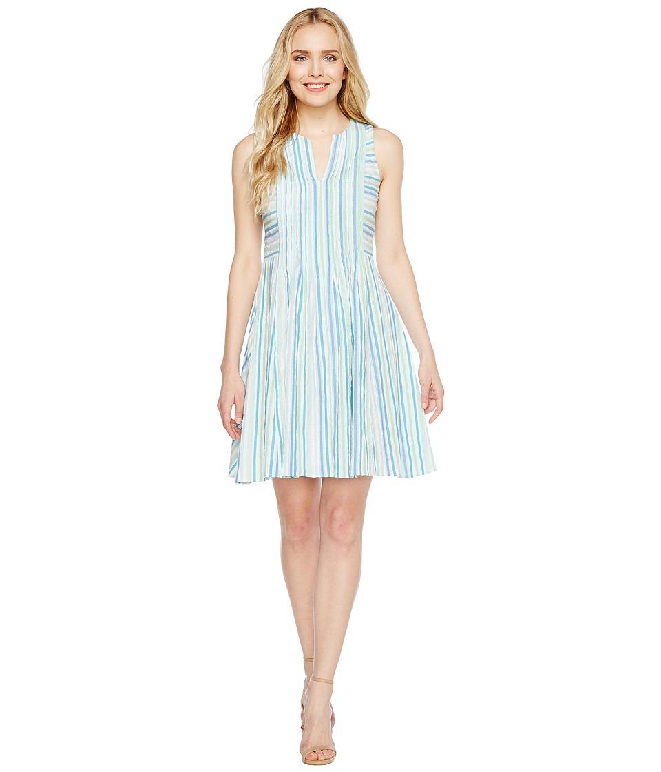 CeCe - Sleeveless Stripe Crinkle Gauze Pintuck Dress