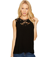 CeCe - Knit Top with Floral Cut Out Neckline