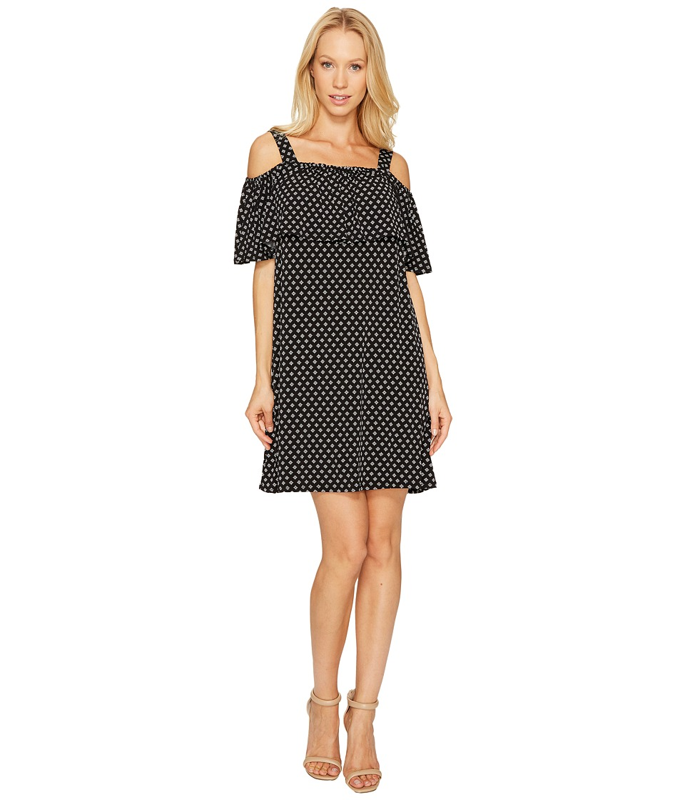 CeCe Cold Shoulder Stencil Foulard Knit Dress (Rich Black) Women