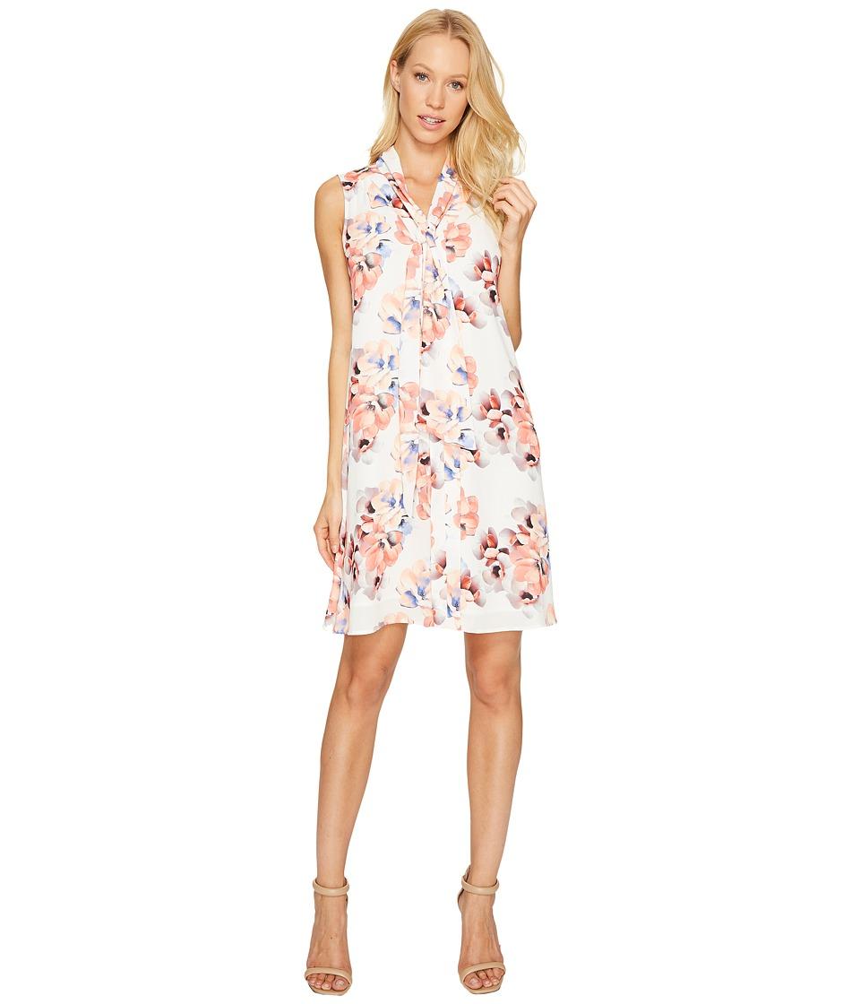 CeCe Sleeveless Garden Blooms Tie Neck Swing Dress (New Ivory) Women