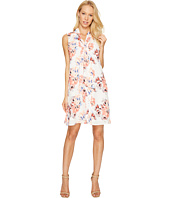 CeCe - Sleeveless Garden Blooms Tie Neck Swing Dress