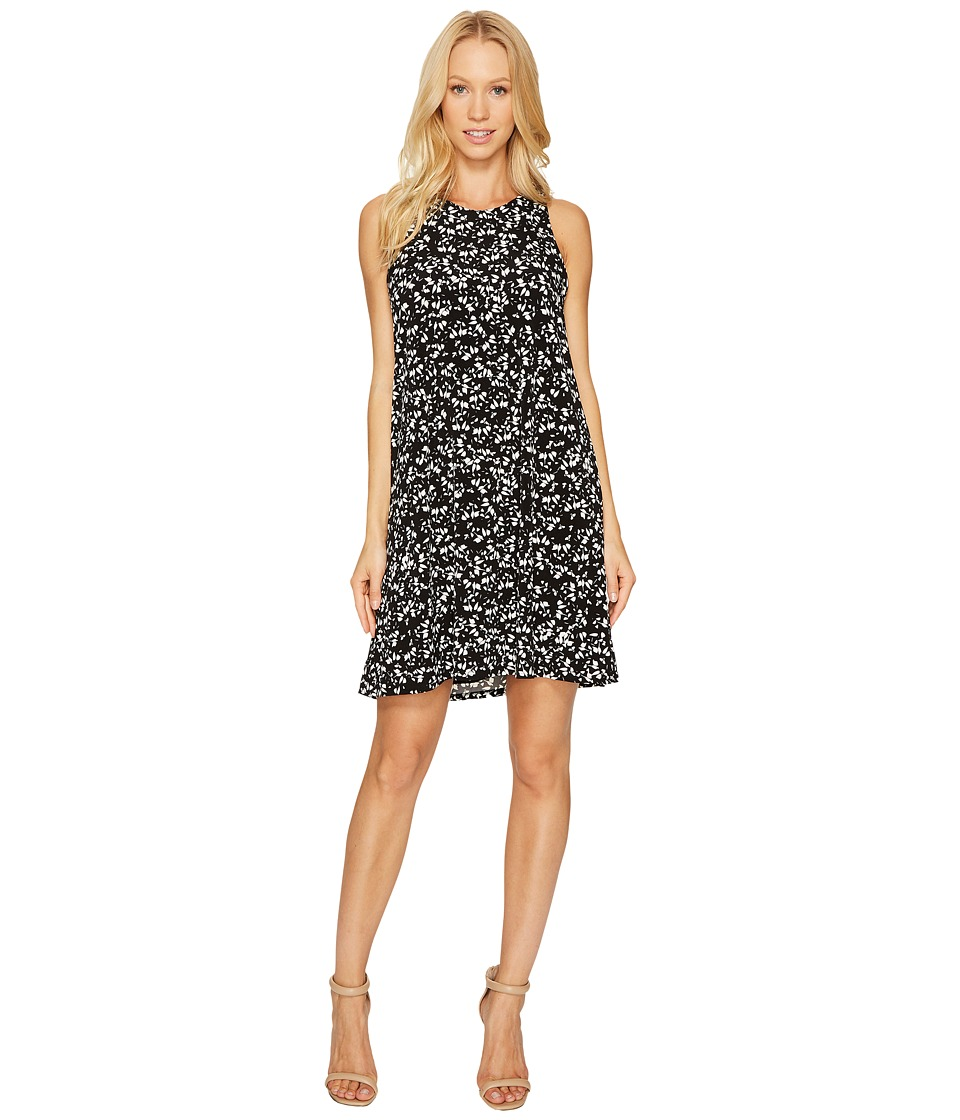 CeCe Twist Back Modern Ditsy Halter Dress (Rich Black) Women