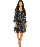 Taylor - Floral Chiffon Dress with Bell Sleeves